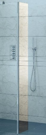KIRBY SEBASTIAN BARCELONA POLISHED ALUMINIUM WETROOM/WALK-IN 'RETURN' SCREEN 250mm, BAR250WR