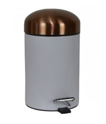 CLEARANCE MILLER BEEM WHITE with COPPER/BRONZE LID PEDAL BIN, 27500