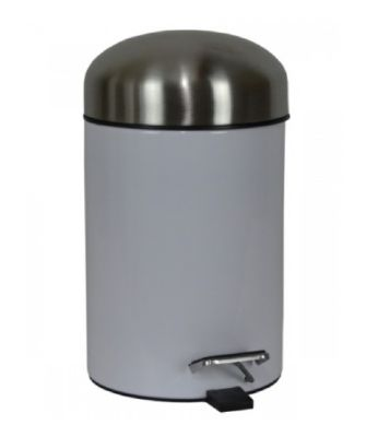 CLEARANCE MILLER BEEM WHITE with SATIN LID PEDAL BIN, 27502