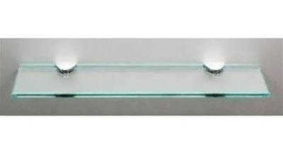 MILLER CLASSIC CHROME BATHROOM 400mm STRAIGHT CLEAR GLASS SHELF, 291120