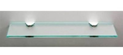 MILLER CLASSIC CHROME BATHROOM 450mm STRAIGHT CLEAR GLASS SHELF, 291220