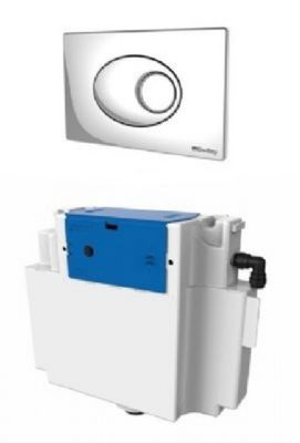THOMAS DUDLEY VANTAGE CHROME DUAL FLUSH CONCEALED PNEUMATIC CISTERN, 324398 with PEBBLE PUSH PLATE