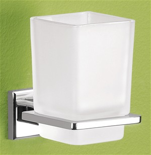 BATHROOM ORIGINS GEDY COLORADA CHROME BATHROOM FROSTED GLASS TUMBLER HOLDER, 6910-13