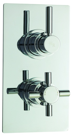 HUDSON REED TEC PURA CHROME THERMOSTATIC TWIN CONCEALED SHOWER VALVE, A3003V