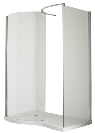 ULTRA PREMIER BATHROOM COLLECTION PACIFIC CHROME 1400mm x 906mm L/H WALK IN ENCLOSURE + TRAY, AQW/BSF1400SLL