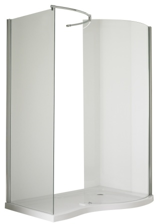 ULTRA PREMIER BATHROOM COLLECTION PACIFIC CHROME 1400mm x 906mm R/H WALK IN ENCLOSURE + TRAY, AQW/BSF1400SLR
