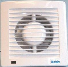 VECTAIRE 'AS' WHITE PIR (Passive Infra Red), TIMER, NEON 12cm BATHROOM/KITCHEN SLIMLINE AXIAL EXTRACTOR FAN, AS12PIR