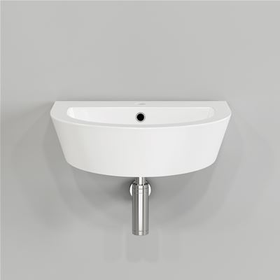 KIRBY SEBASTIAN CONTEMPORARY CURVED WHITE CERAMIC WALL MOUNTED CLOAKROOM BASIN, CA632FB