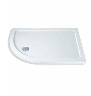 CASSELLIE ABS STONE RESIN 1000mm x 800mm x 40mm L/H OFFSET QUADRANT SHOWER TRAY & WASTE, OQT003