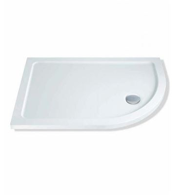 CASSELLIE ABS STONE RESIN 1000mm x 800mm x 40mm R/H OFFSET QUADRANT SHOWER TRAY & WASTE, OQT004