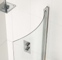 CARRON DELTA 'P' CHROME SHOWERBATH CURVED GLASS SHOWER SCREEN L/H or R/H, 69.0139