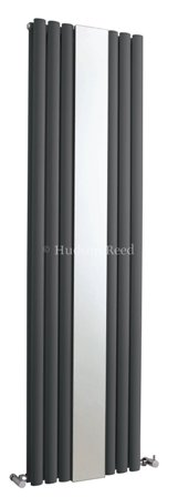HUDSON REED REVIVE ANTHRACITE VERTICAL DOUBLE PANEL DESIGNER RADIATOR with MIRROR, HLA79