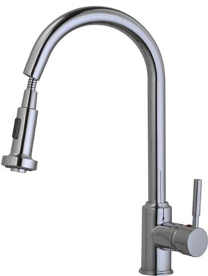 CASSELLIE KITCHEN CHROME MONO SINK MIXER TAP with PULL OUT RINSE SPRAY, KTAP2
