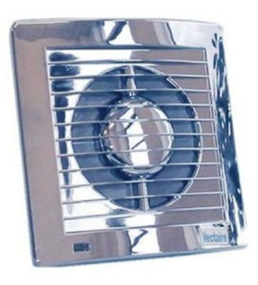 VECTAIRE 'AS' CHROME HUMIDISTAT, TIMER, NEON 12cm BATHROOM/KITCHEN SLIMLINE AXIAL EXTRACTOR FAN, AS12HTCr
