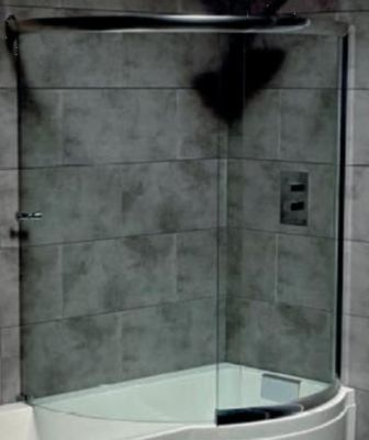 CARRON CELSIUS 'P' CHROME SHOWERBATH COMPLETE WRAP ROUND GLASS SCREEN L/H or R/H, 57.6000