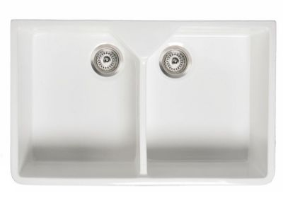 RAK GOURMET SINK 10 - BELFAST STYLE WHITE DOUBLE BOWL CERAMIC SINK, GOSINK10