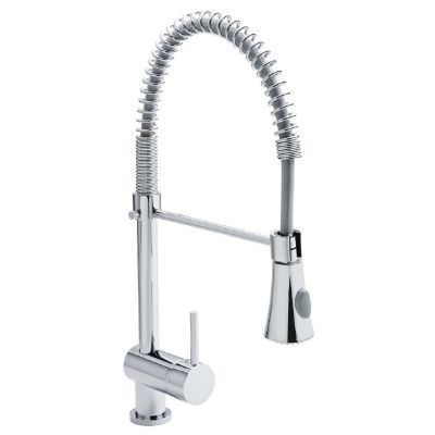 CLEARANCE ULTRA PREMIER PULL OUT CHROME SINGLE SIDE LEVER MONO SINK MIXER TAP with PULL-OUT FLEXIBLE SPRAY, KC314/PP832